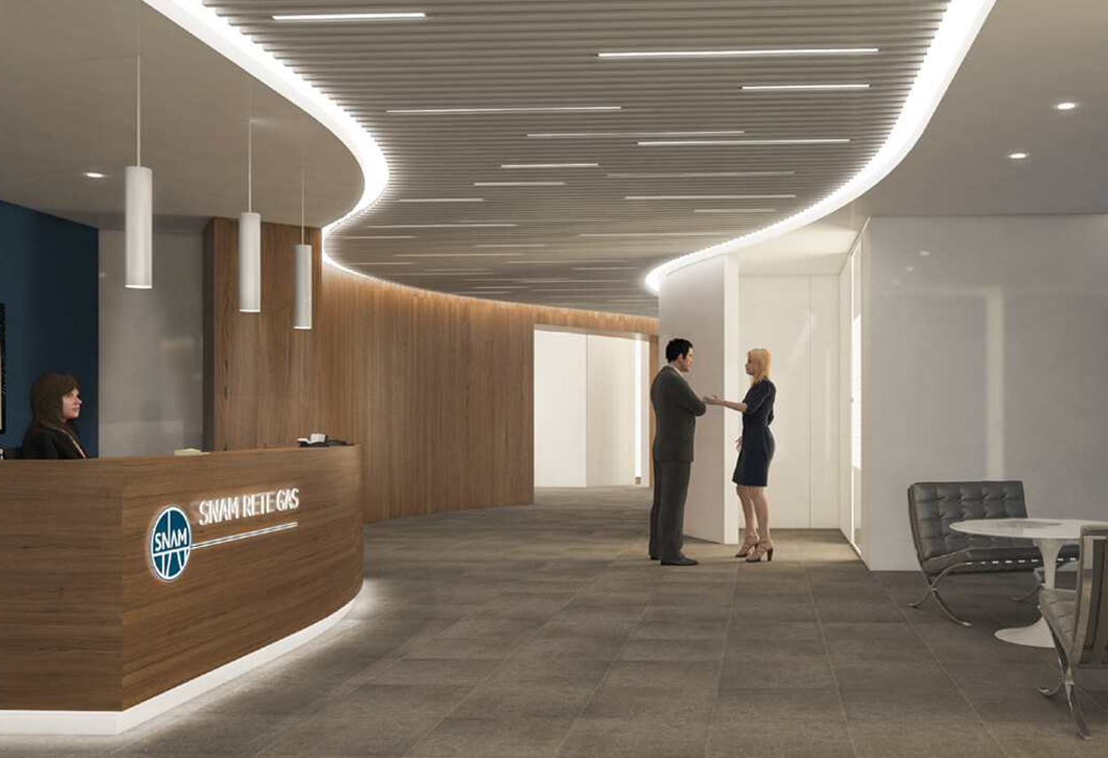 San Donato SNAM Headquarter reception - architectural lighting