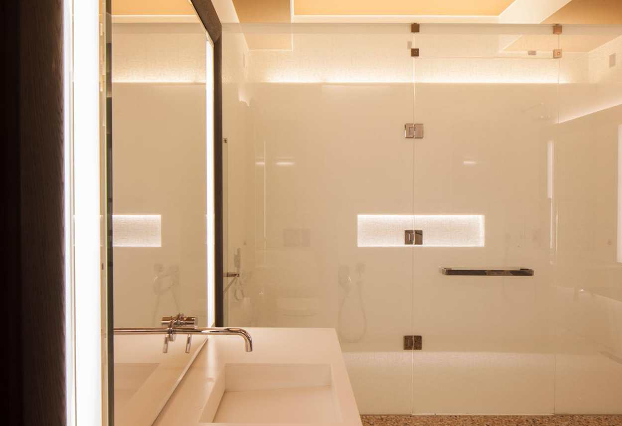 Venezia Papadopoli Palace Aman Resorts bathroom detail - architectural outdoor lighting