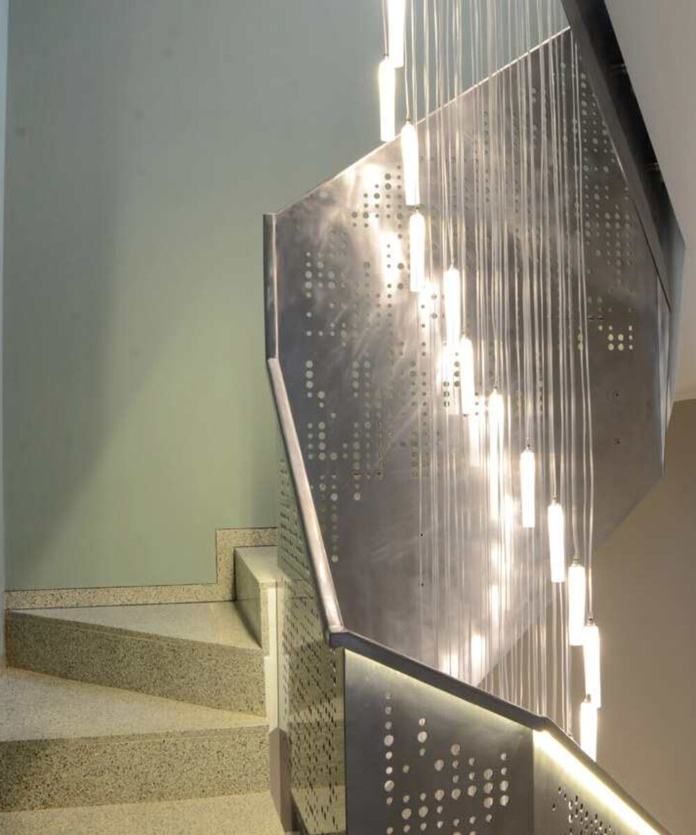 Italy Milan Private House Light Fall stair - led light design