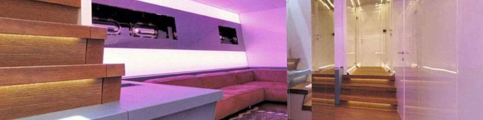 Yacht Mangusta 130 MAO internal view - retail lighting design