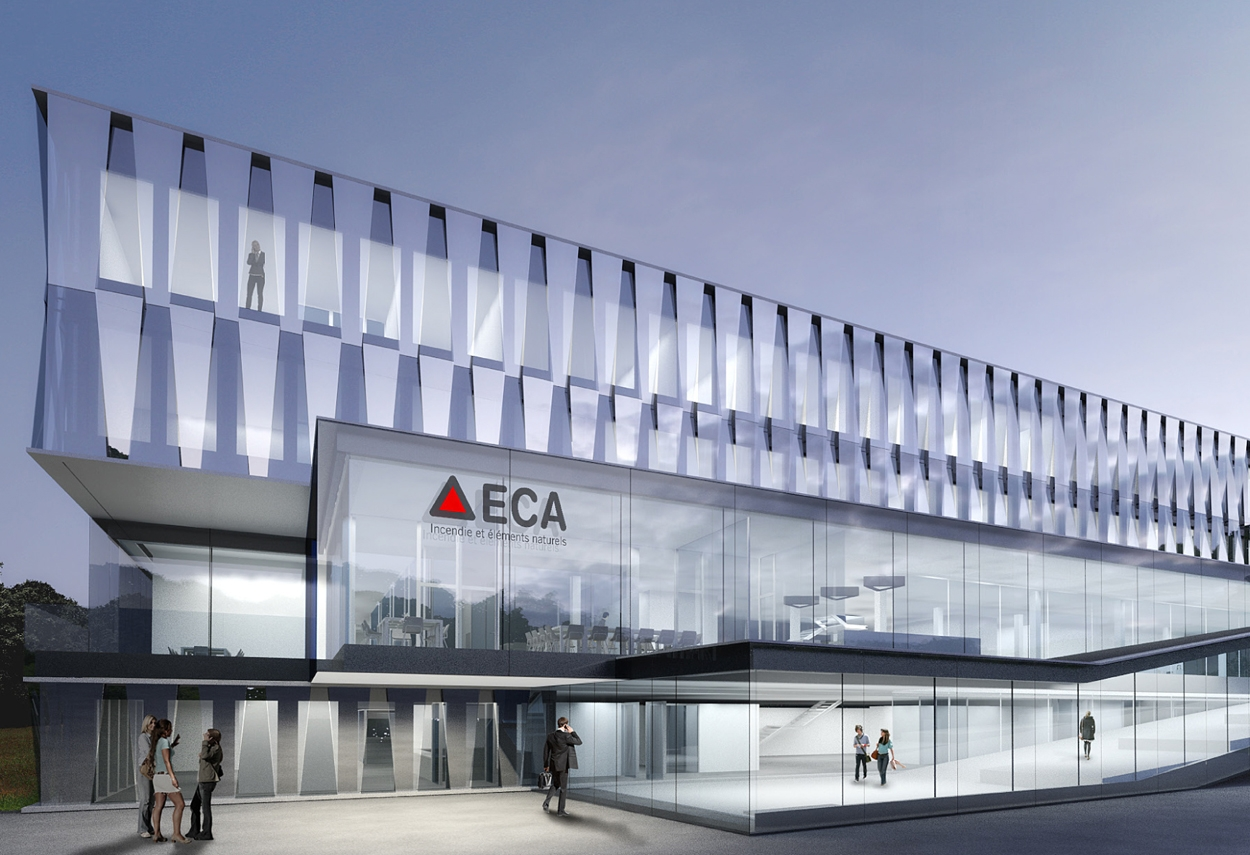 Lausanne ECA Headquarters: external view - architectural lighting