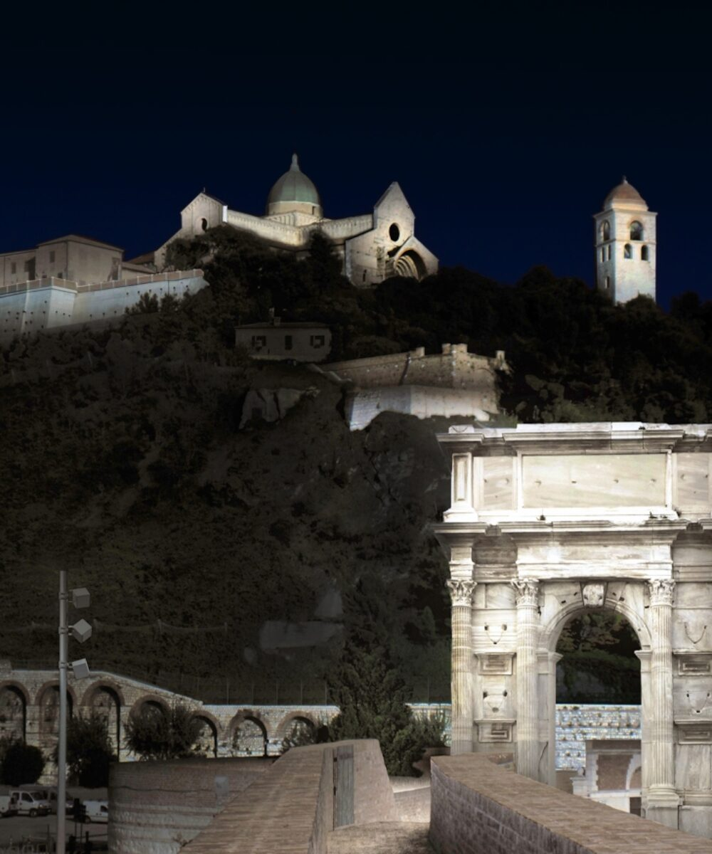 Ancona night view with new illumination waterfront