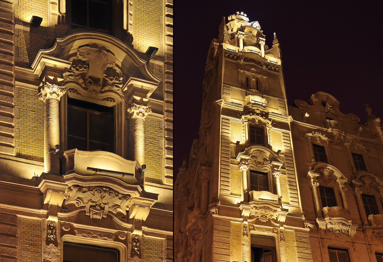 Klotild Palace Facade Lighting in Budapest detail view