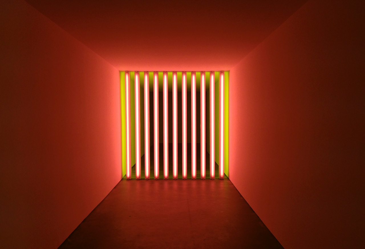 Dan Flavin lighting with red tubes