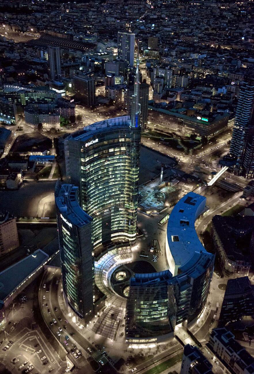Aerial night view of Porta Nuova Garibaldi Repubblica complex