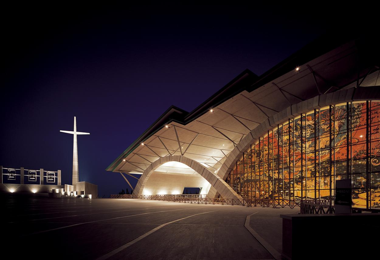 The Sanctuary illuminated at night