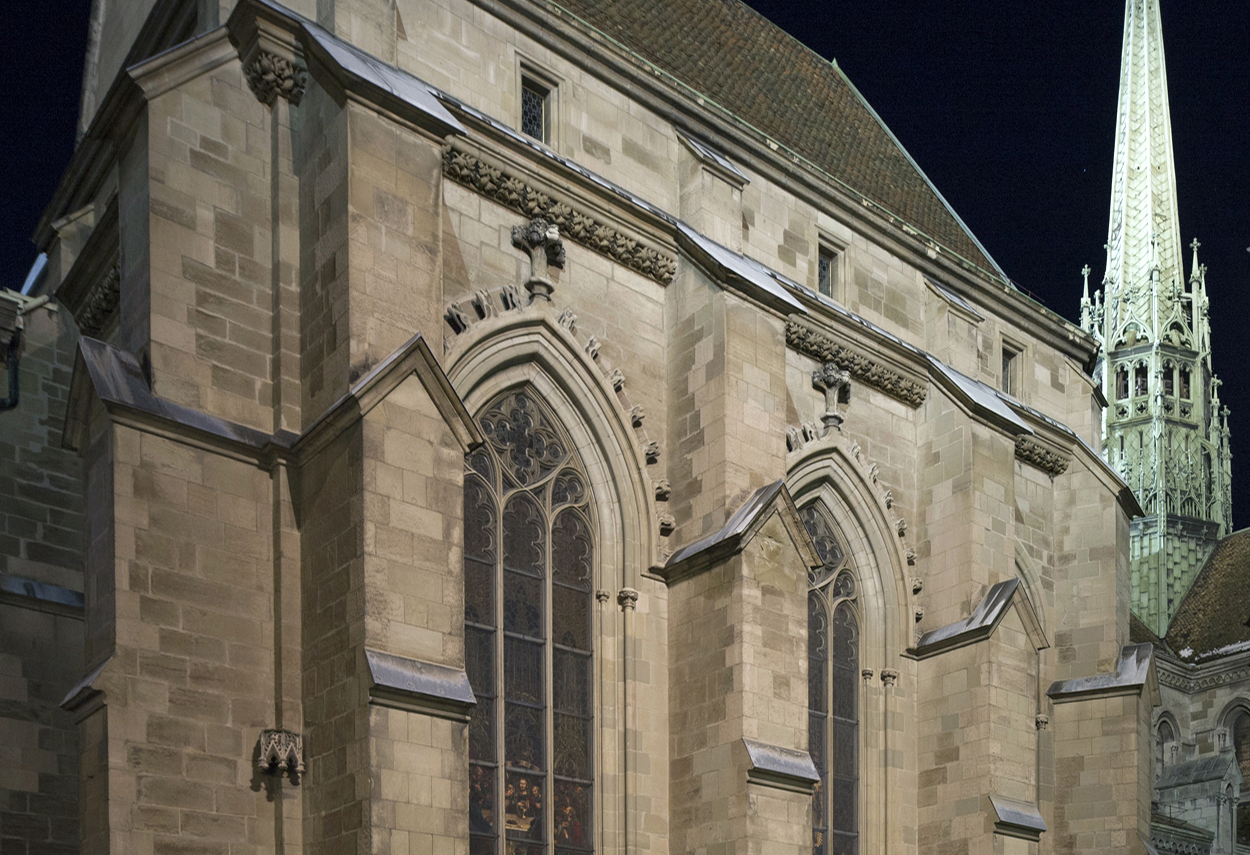 Another detail view of the Cathedral's night lighting.