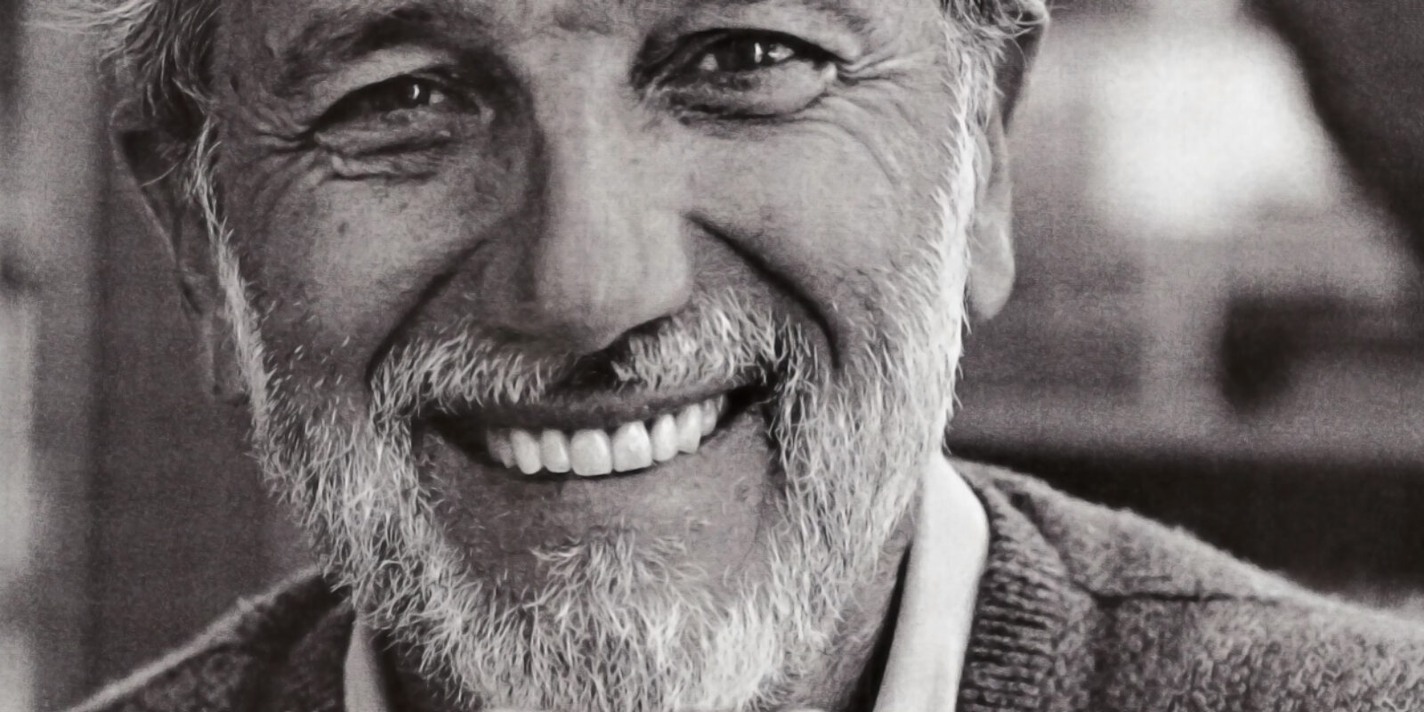 A black and white self-portrait by Renzo Piano