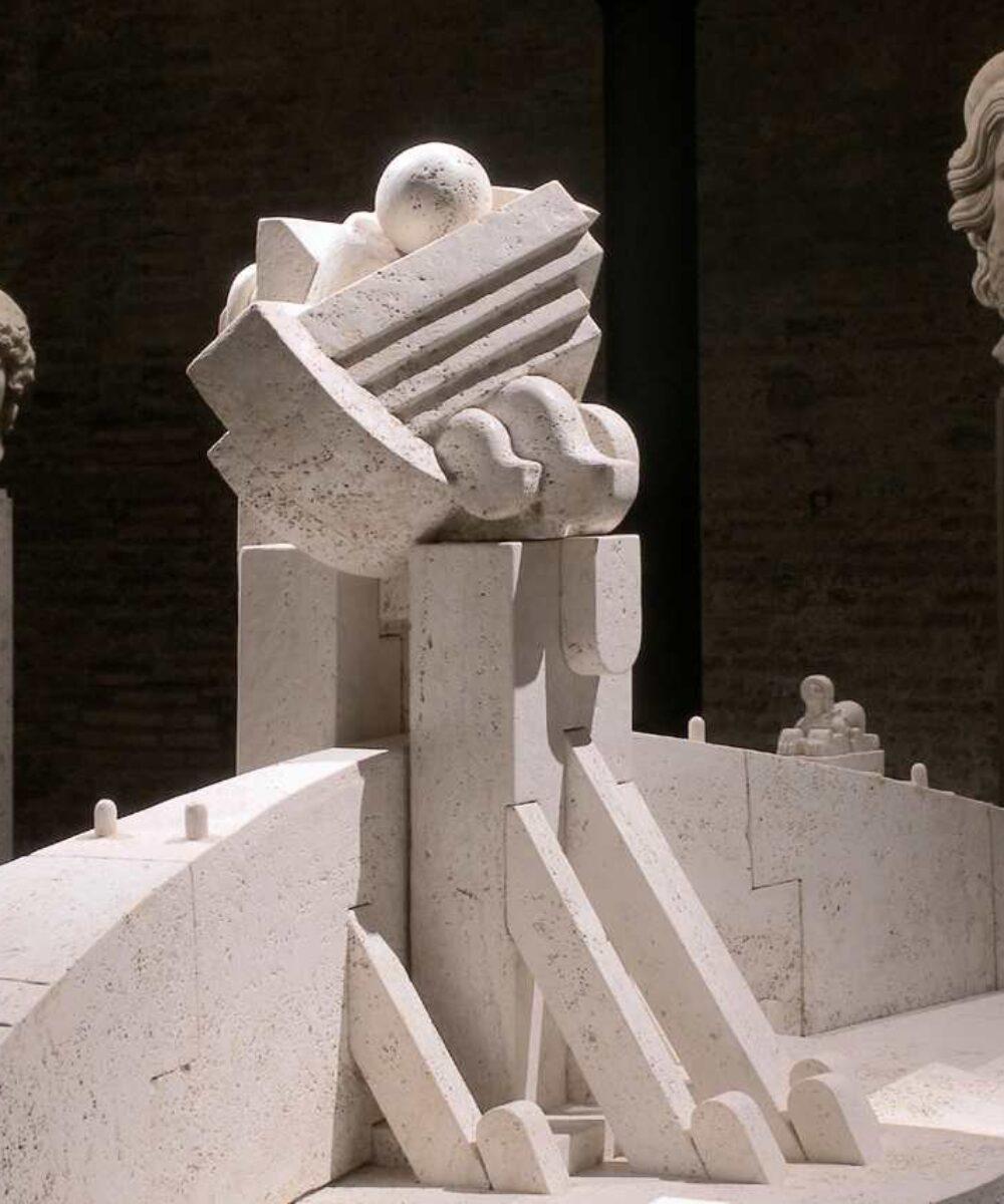 Baths of Diocletian I Segreti del Cielo Cascella Exhibition a Roma vista d'insieme - illuminazione musei