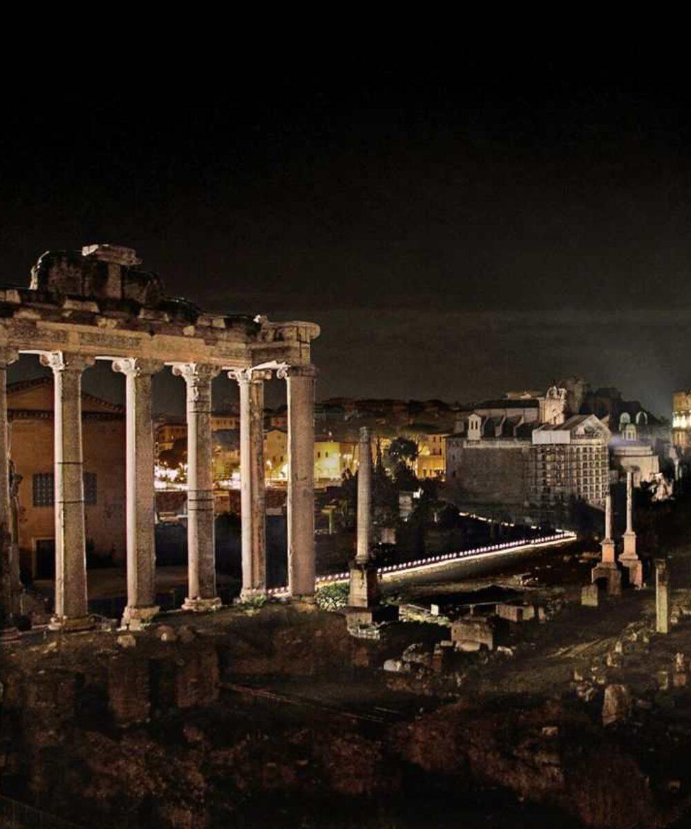 Rome Imperial Forums illuminazione notturna - illuminazione musei