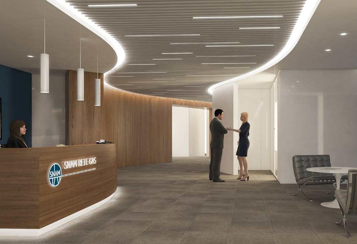 SNAM Headquarter reception - illuminazione ufficio