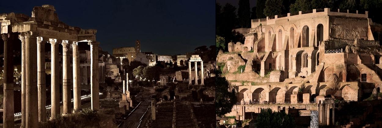 Rome Imperial Forum illuminazione vista notturna