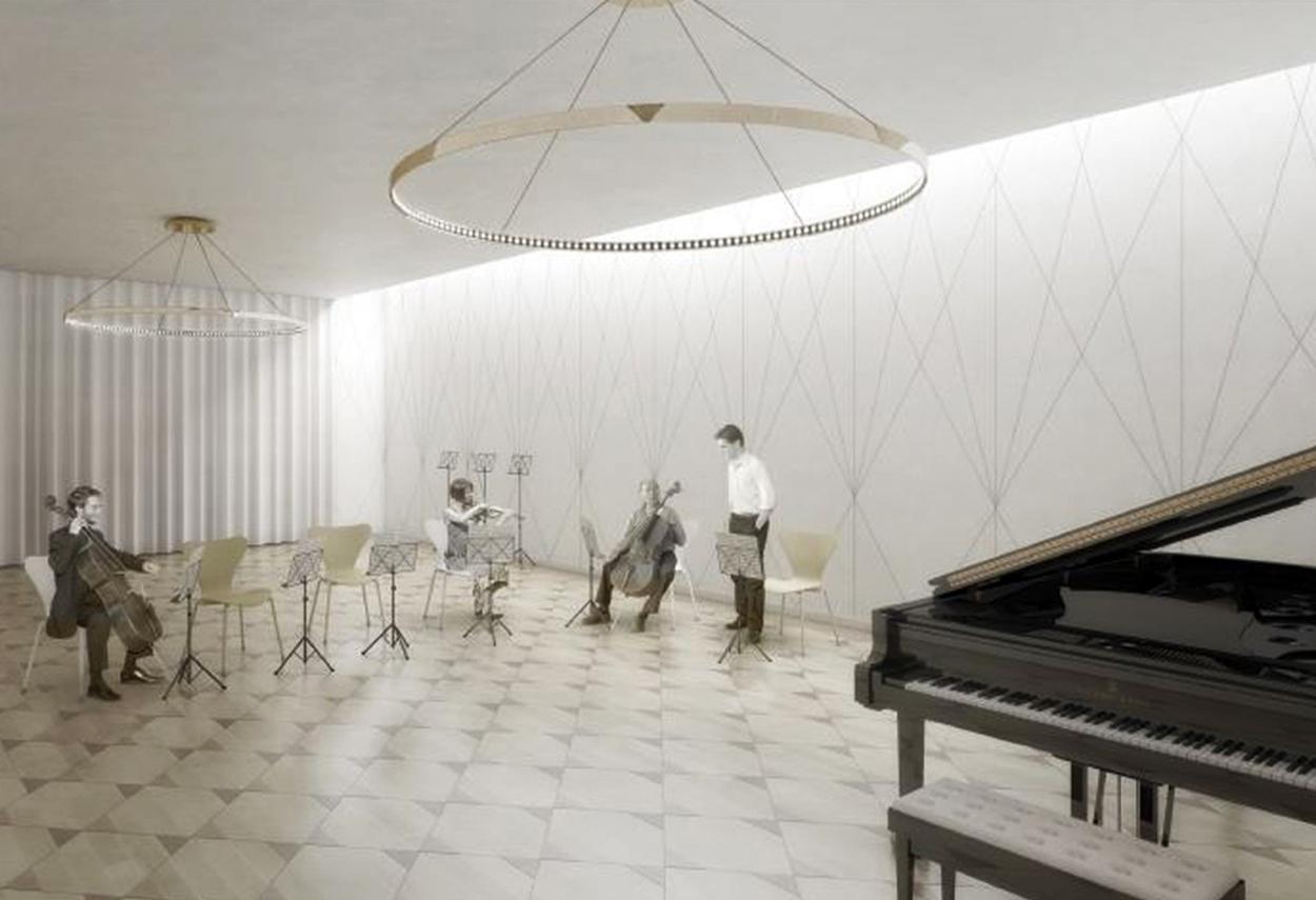 Interno del Conservatorio di Musica di Ginevra illuminato da lampade a LED