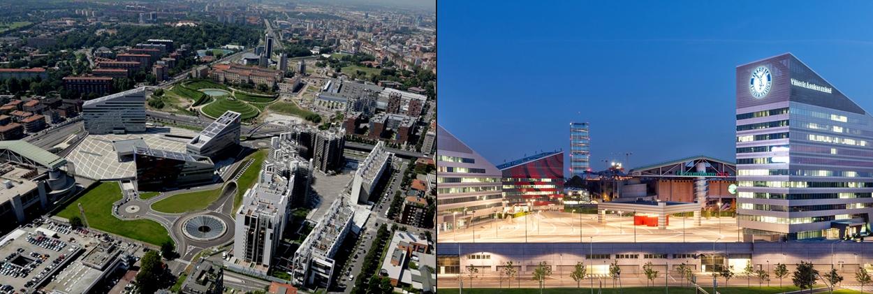 Milan Portello District vista d'insieme - design luce