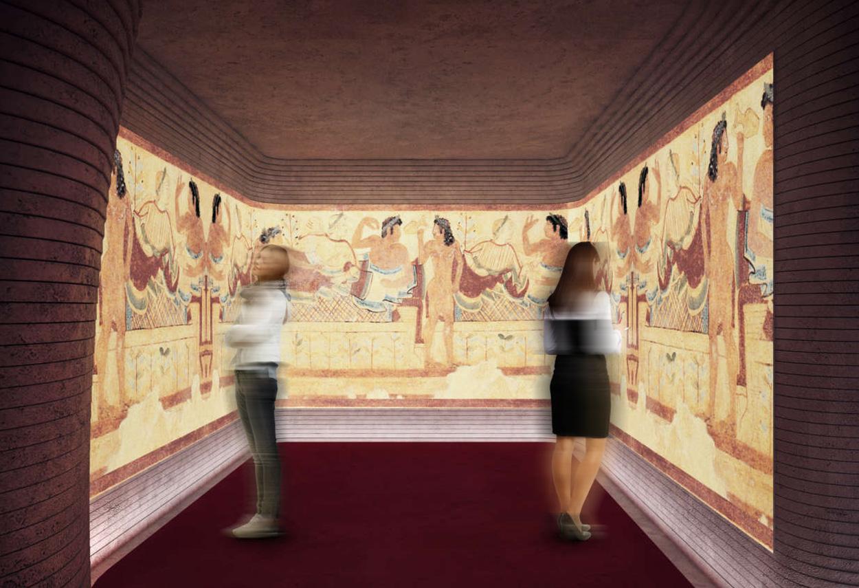 Fondazione Luigi Rovati illuminazione sala con visitatori - Design Lighting
